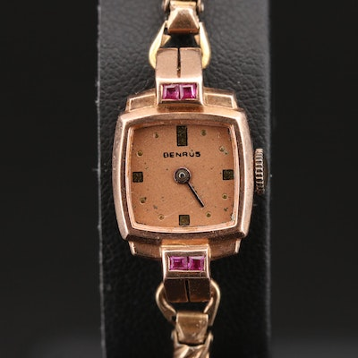 14K Rose Gold and Ruby Benrus Wristwatch for Scrap Value