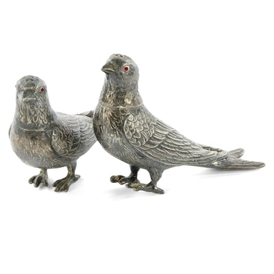 E & J. Bass Silver Plate Bird Salt and Pepper Shakers, Early 20th C.