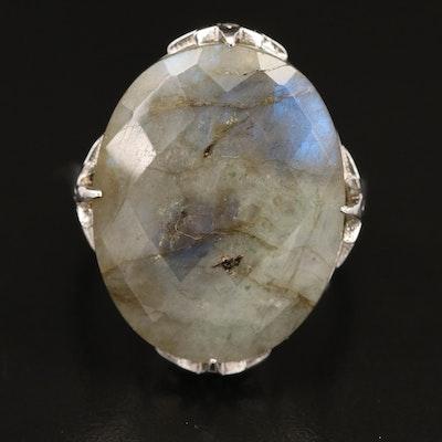 Sterling Labradorite and Zircon Ring with Starburst Motif