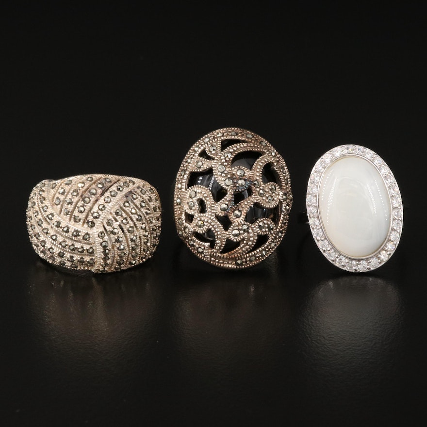 Sterling Rings  Featuring Opal, Black Onyx and Cubic Zirconia