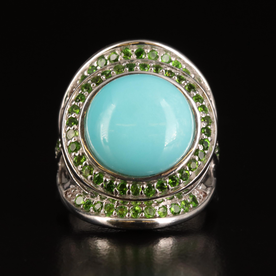 Sterling Turquoise and Diopside Ring