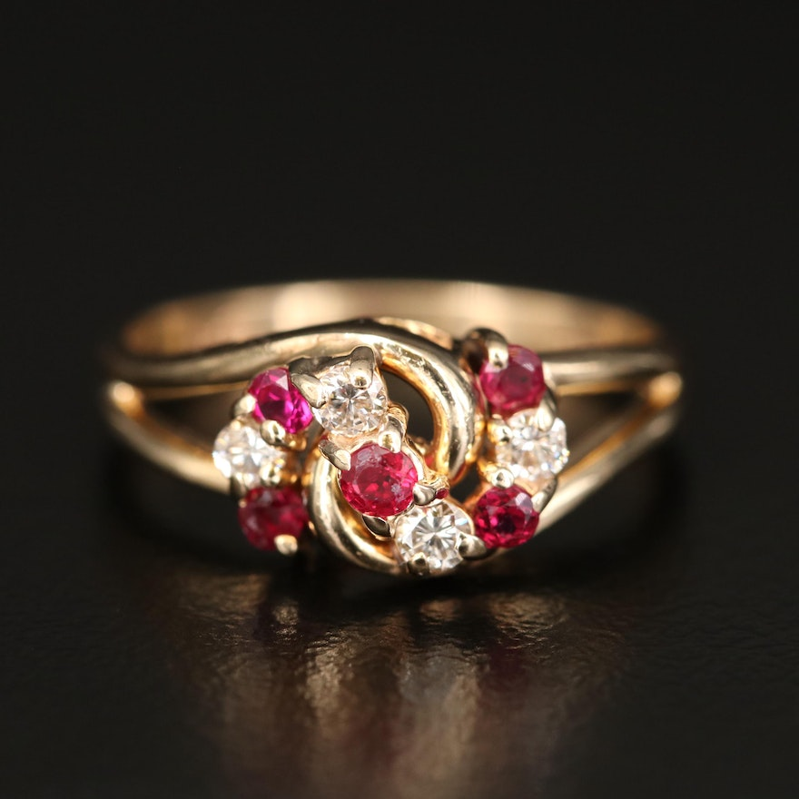 14K Ruby and Diamond Ring