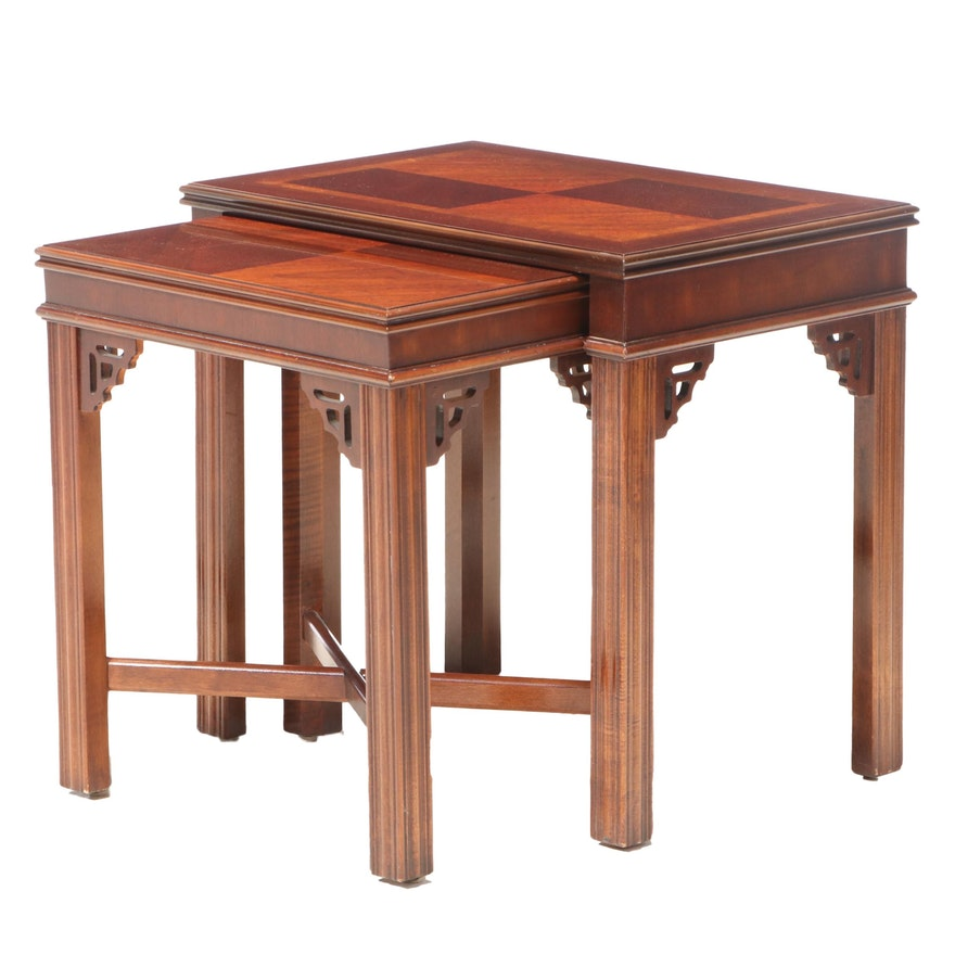 Two Lane Chippendale Style Mahogany Graduated Side Tables, Late 20th Century