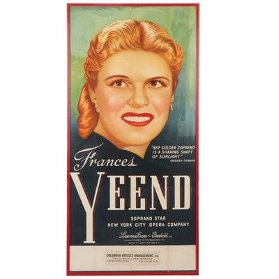 Lithograph Poster for NYC Opera Concert Featuring Frances Yeend
