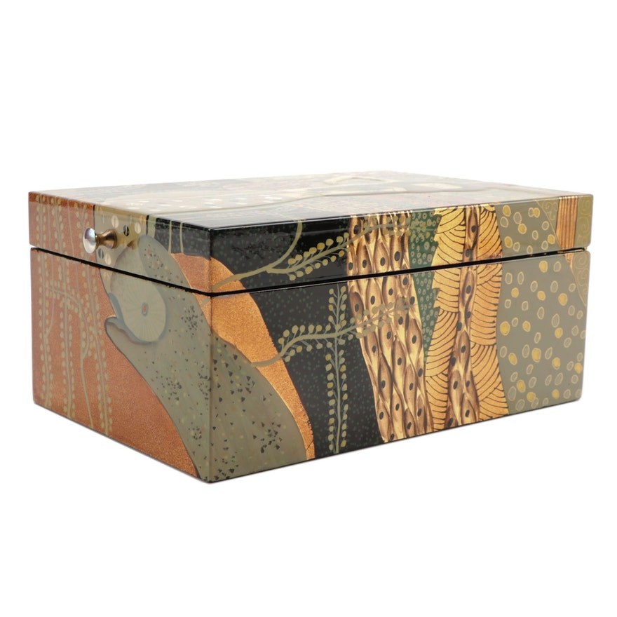 Gustav Klimt Inspired Hand-Painted Lacquered Jewelry Box