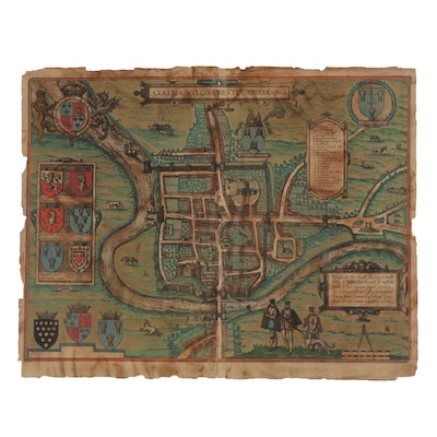 Goerg Braun and Frans Hogenberg Hand-Colored Engraving Map, circa 1572