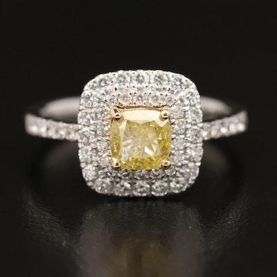 18K 1.57 CTW Diamond Double Halo Ring with GIA Report