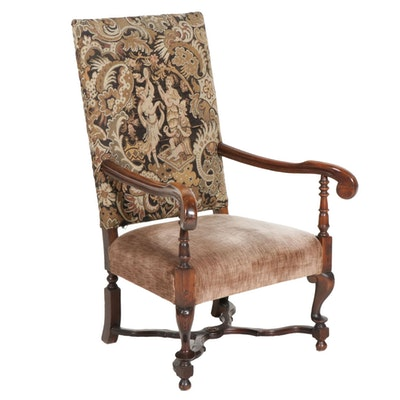 Louis XIII Style Upholstered Armchair, Early 20th Century