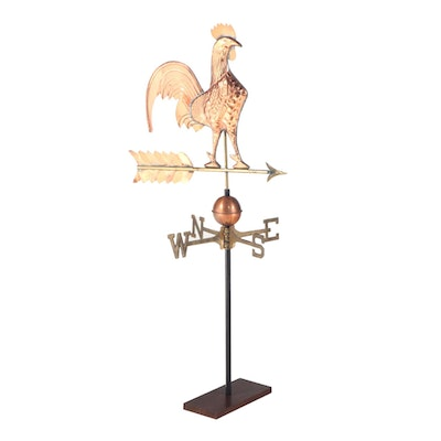 Copper and Brass Full-Bodied Rooster Weathervane with Directionals and Stand