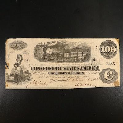 1862 CSA $100 Banknote, T-40