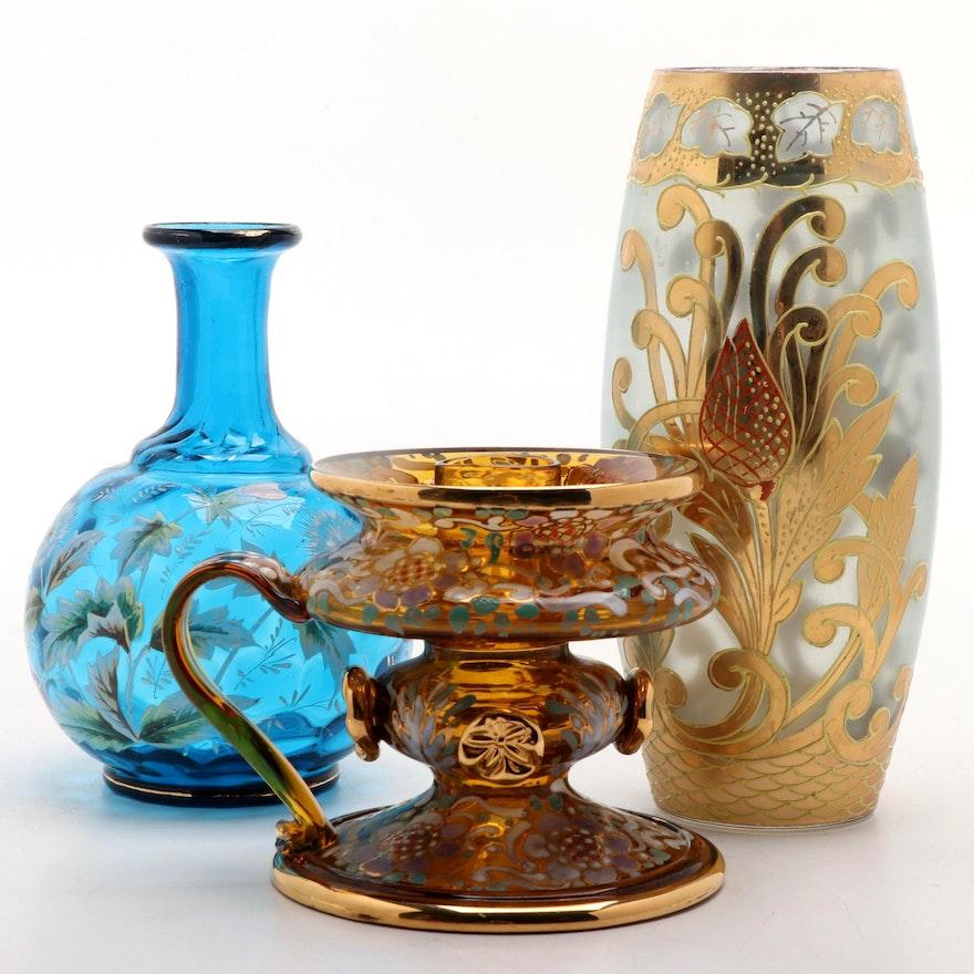 Victorian Enameled Blue Glass Bottle Vase, Gilt Enameled Vase and Chamberstick