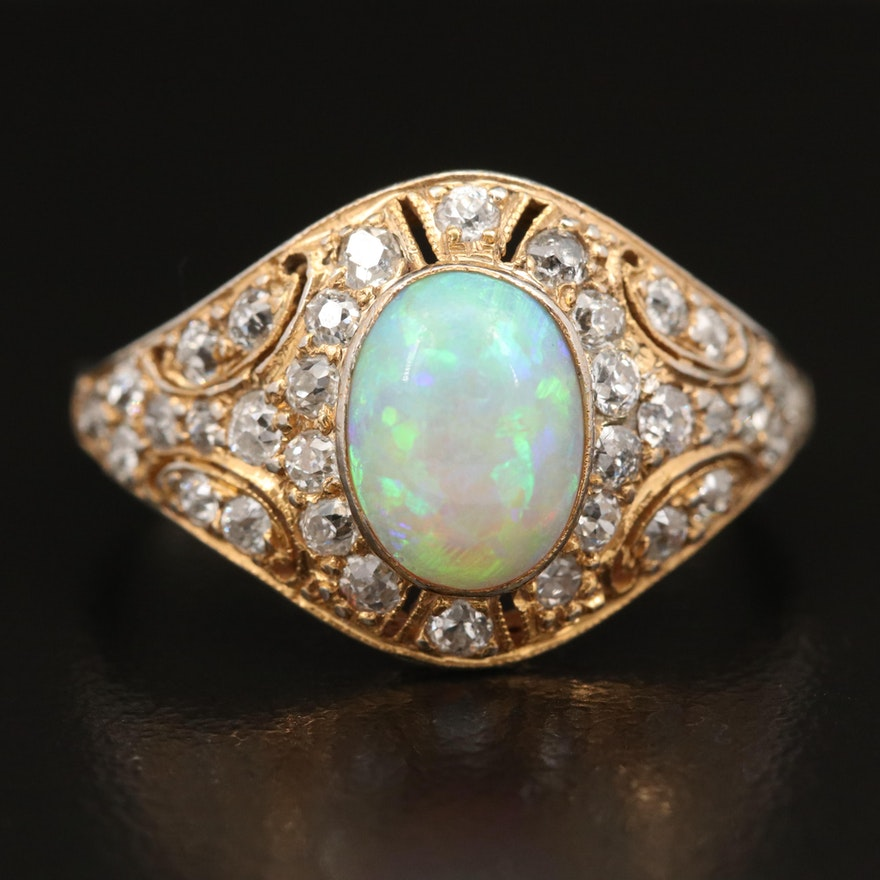 Vintage Platinum and 14K Opal and 1.03 CTW Diamond Ring
