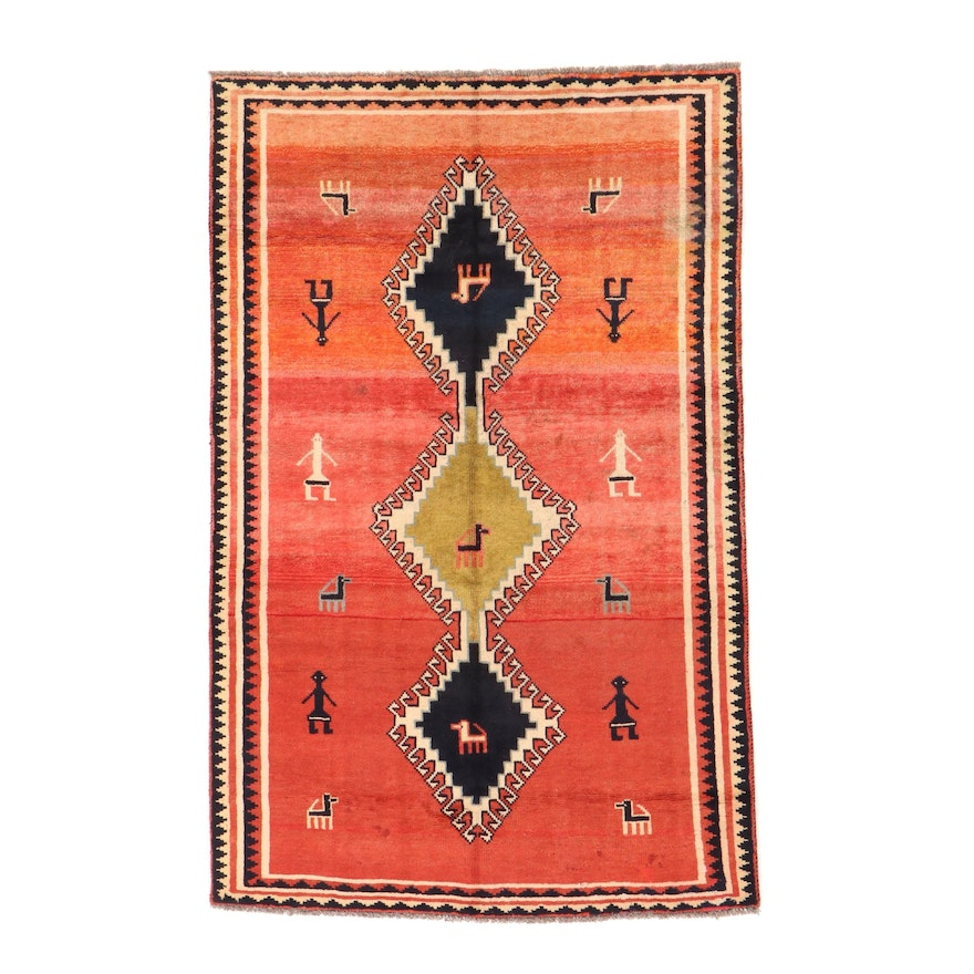 5'1 x 8' Hand-Knotted Persian Gabbeh Area Rug