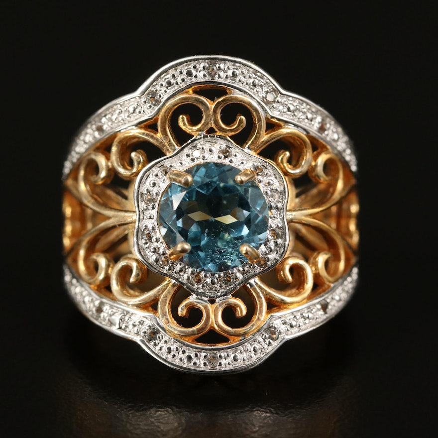 Sterling Silver Topaz and Sapphire Scrollwork Ring