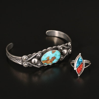 Western Style Sterling Silver Turquoise Cuff with Stone Inlay Ring