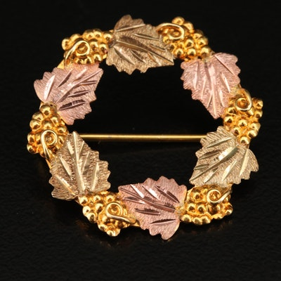 Tri-Color 10K Grape Leaf Wreath Brooch