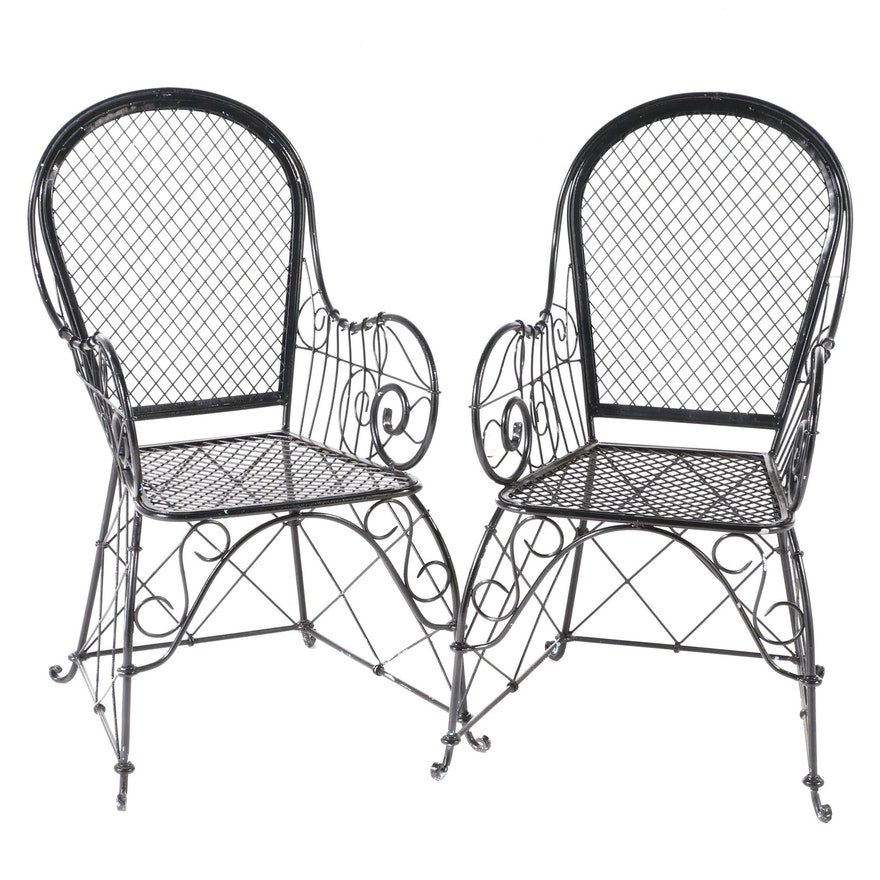 Pair of Black-Painted Iron & Wire Mesh Patio Armchairs, Mid to Late 20th Century