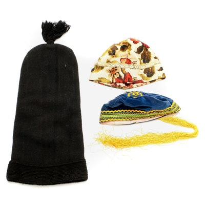 Lace Trimmed Fabric Hat, Felted Wool Long Hat, and Blue Velveteen Cap with Tasse