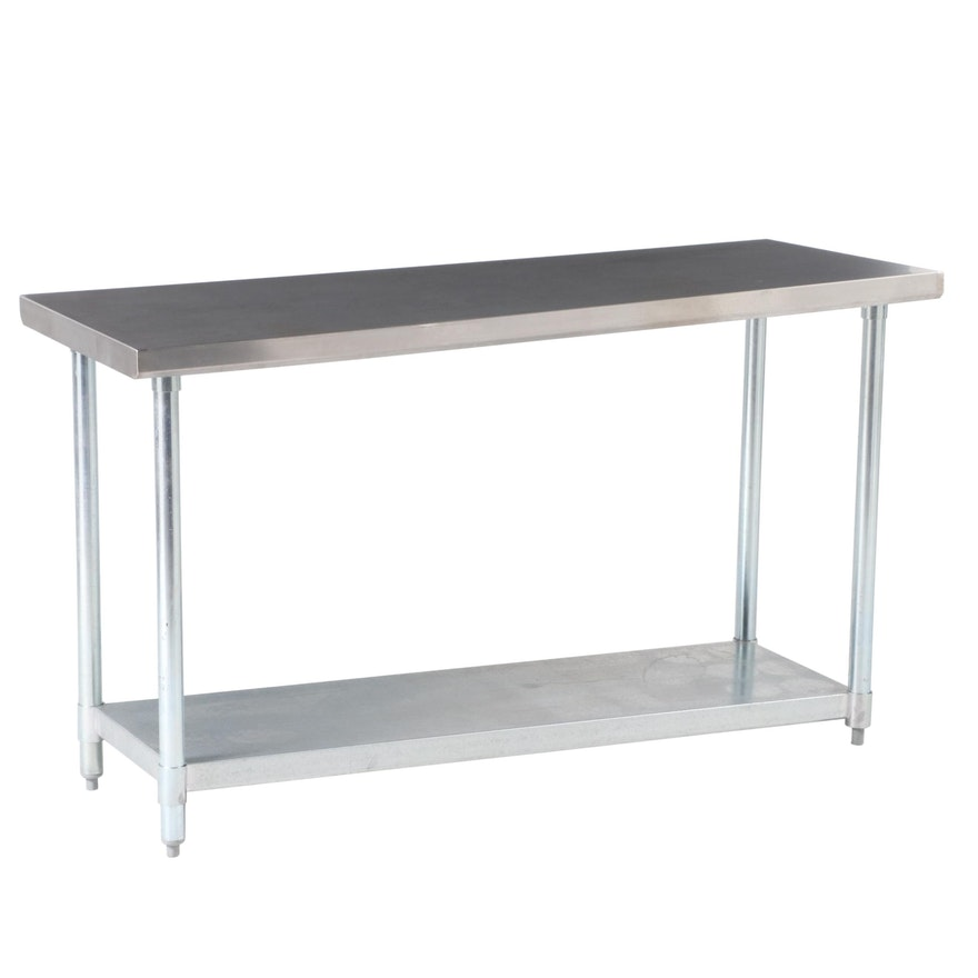 BK Resources Galvanized and Stainless Steel Kitchen Work Table