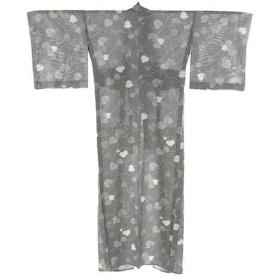 Leaf Patterned Gray Ro Woven Natsu Kimono with Tato-shi Paper