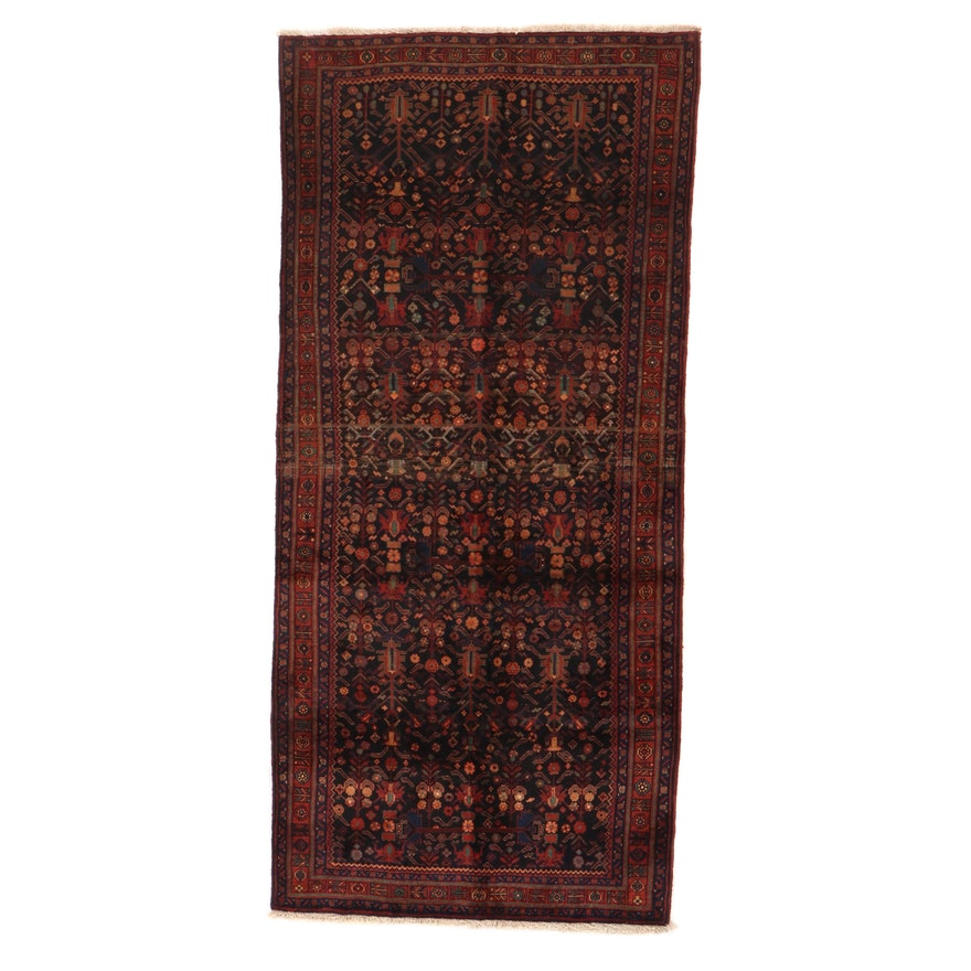 4'5 x 10' Hand-Knotted Persian Kurdish Area Rug