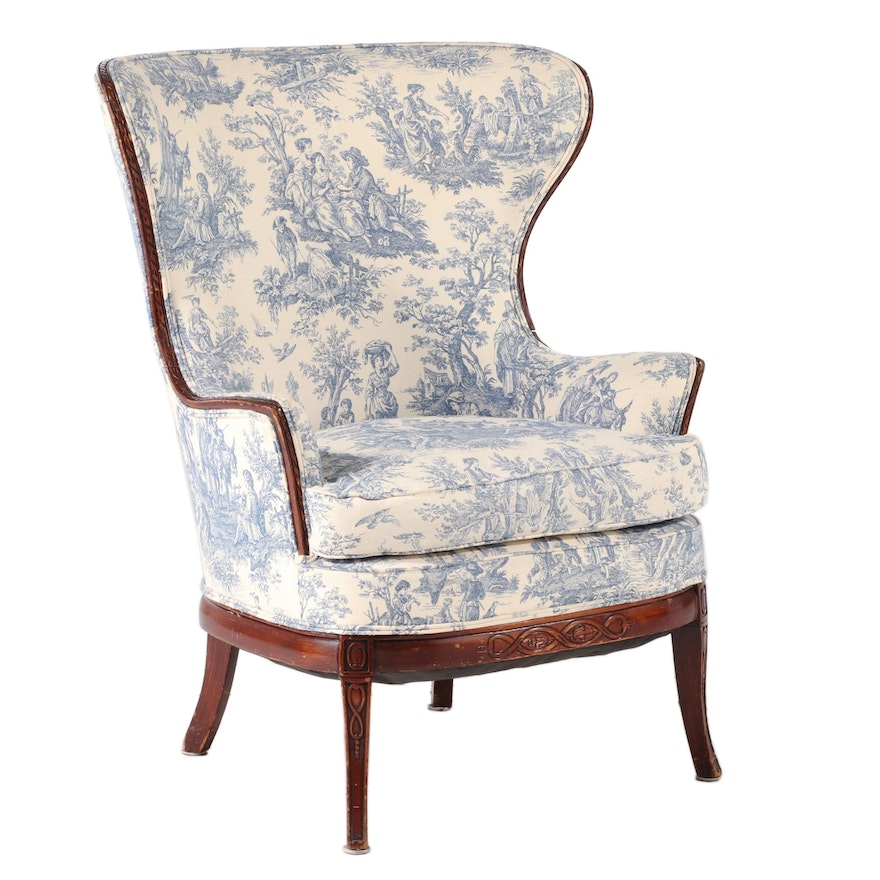 Neoclassical Style Walnut-Stained and Toile-Upholstered Wingback Armchair