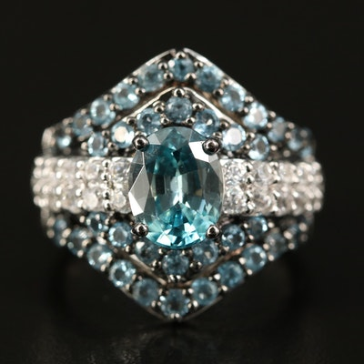 Sterling Silver Zircon and Topaz Ring