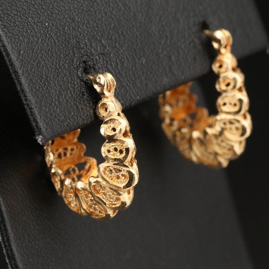 14K Diamond Cut and Filigree Hoop Earrings