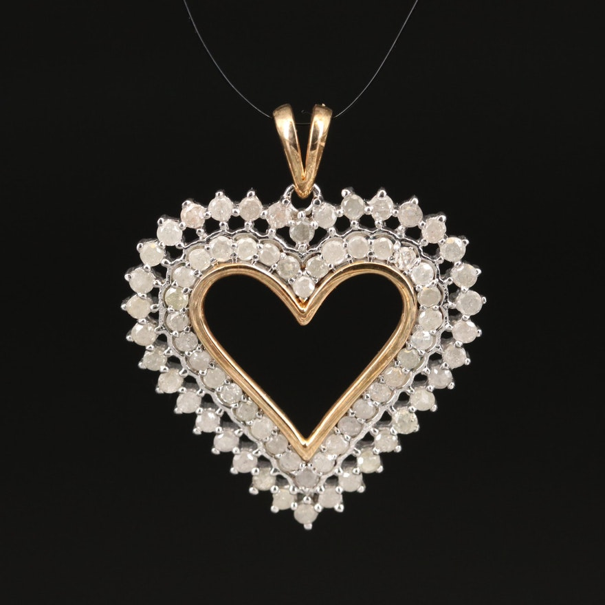Sterling Silver 1.66 CTW Diamond Heart Pendant