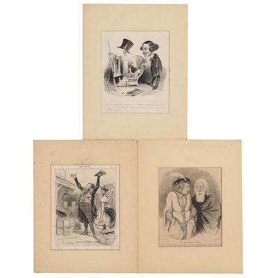 Honoré Daumier Chalk Manner Lithographs, Circa 1840