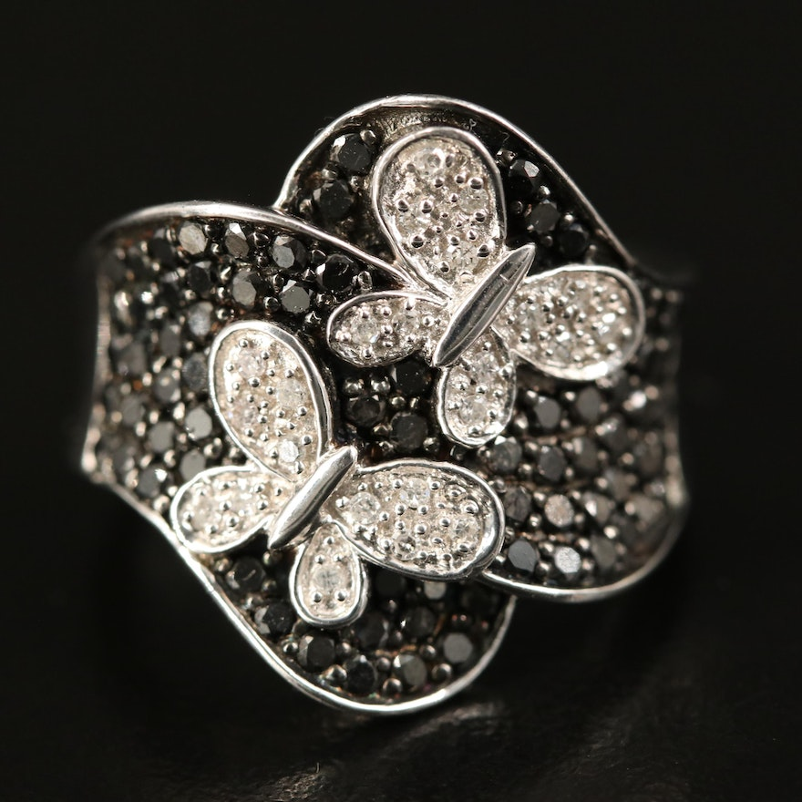 Sterling Diamond Butterfly Ring