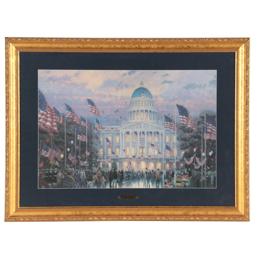 """Offset Lithograph After Thomas Kinkade """"Flags Over The Capitol"""""""