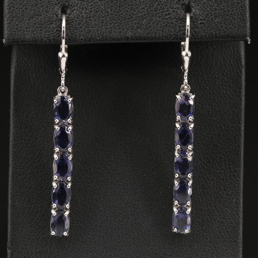 Sterling Silver Iolite Drop Earrings