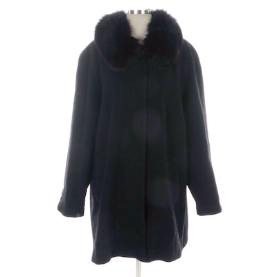 Forecaster of Boston Wool Button-Front Coat with Fox Fur Collar