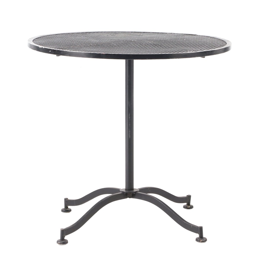 Black-Painted Wire Mesh Patio Bistro Table, Late 20th Century