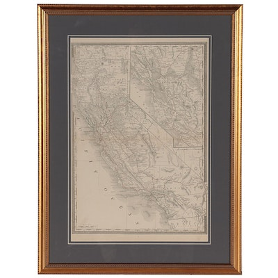Wax Engraving Map of California, Early 20th Century