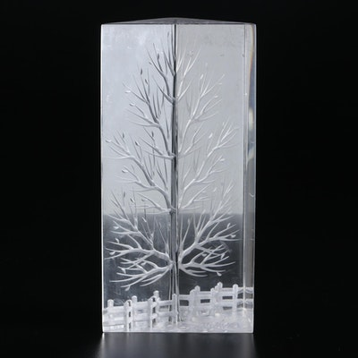 Joseph Galvan Etched Acrylic Sculpture of a Tree