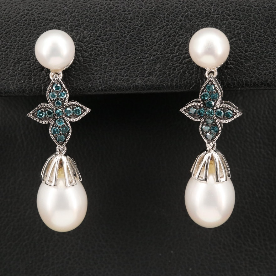 Sterling Silver Diamond and Pearl Drop Earrings