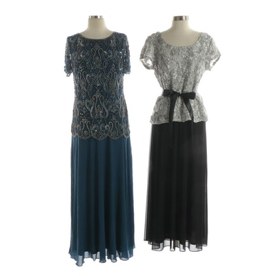 Pisanna Nights Embellished Evening Dress, with Other Lace Evening Top and Skirt