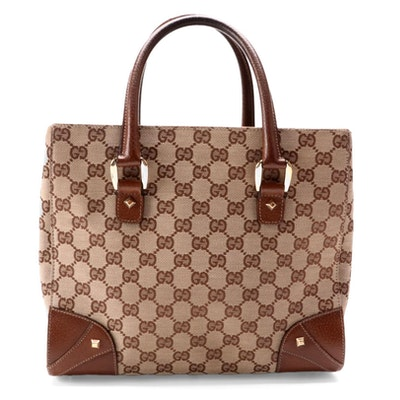 Gucci GG Canvas Handbag with Brown Leather Trim
