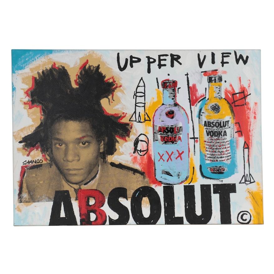 John Stango Monumental Pop Art Mixed Media Painting of Jean-Michel Basquiat