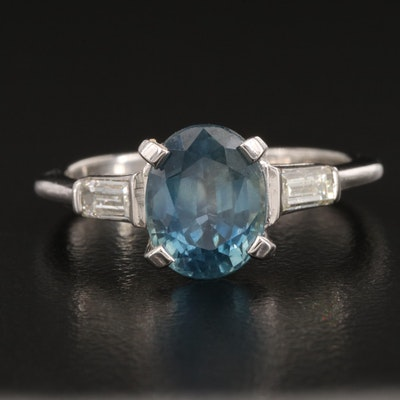 Platinum 3.99 CT Sapphire and Diamond Ring with GIA Report