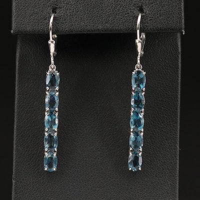 Sterling Topaz Bar Earrings