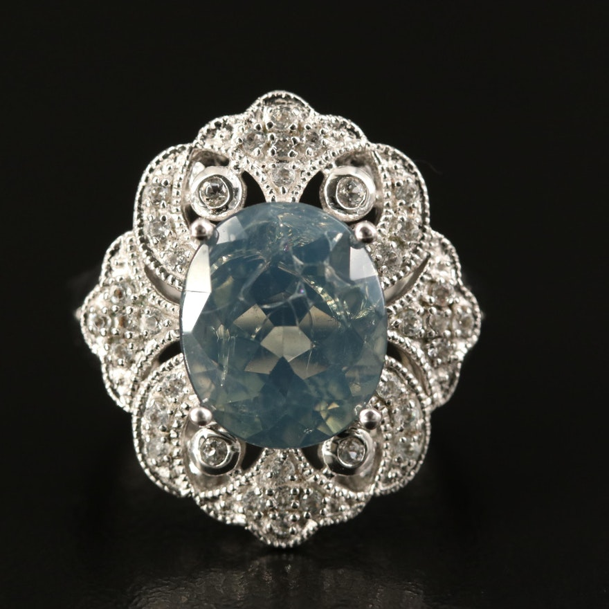 Sterling Silver Opal and Topaz Ring