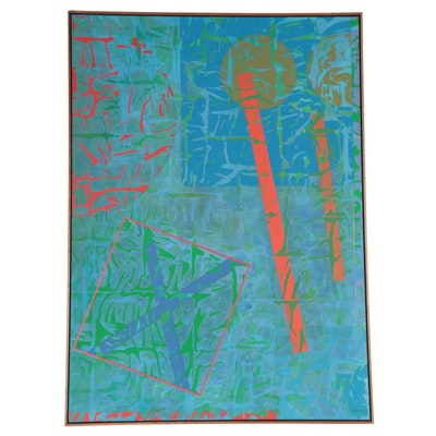 """Walter Stomps Large-Scale Acrylic Painting """"Camouflage,"""" 1986"""