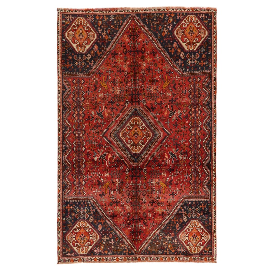 4'11 x 8' Hand-Knotted Persian Qashqai Area Rug