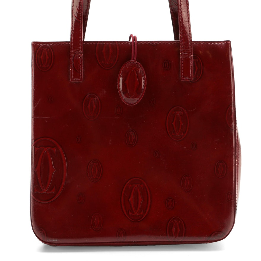 Cartier Top Handle Bag in Burgundy Happy Birthday Logo Embossed Patent Leather