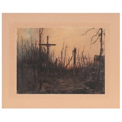 "Edward Handley-Read Pastel Drawing ""La Croix Rouge Heure Chapelle"""
