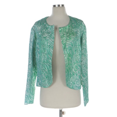 Handmade Textured Green and Silver Metallic Jacquard Open-Front Jacket