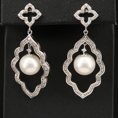 Sterling Arabesque Pearl Earrings Lined with Diamonds